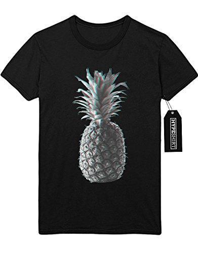 T-Shirt 3D Error Pineapple Fruit Ananas H999972 Schwarz