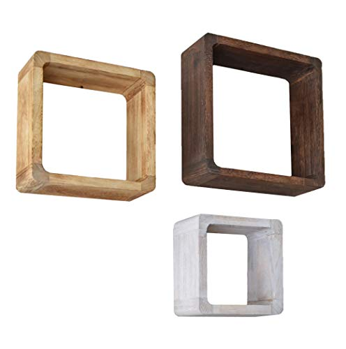 ts-ideen 3er Set Lounge Cube Regal Landhaus Stil Wandregal Hängeregal Massivholz in Hellbraun,...