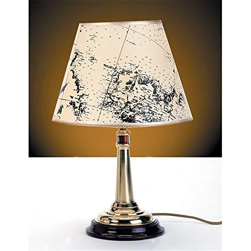 Dekorative Tischleuchte Messing Pergament Schirm Seekarte Leuchtturm Handarbeit maritime Lampe MIREA -