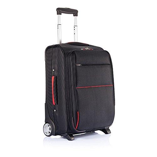 XD Trolley Avion Extensible Ordinateur à Roulette sans PVC, 58 cm, 50 L, Noir/Rouge