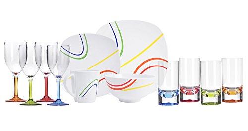 Hekers Melamin-Geschirr Color Line Weiss eckig 24 TLG für 6 Personen + 6 Weingläser + 6 Tumbler/Wassergläser aus Acryl Camping-Geschirr Tafel-Service Picknik Trekking Outdoor