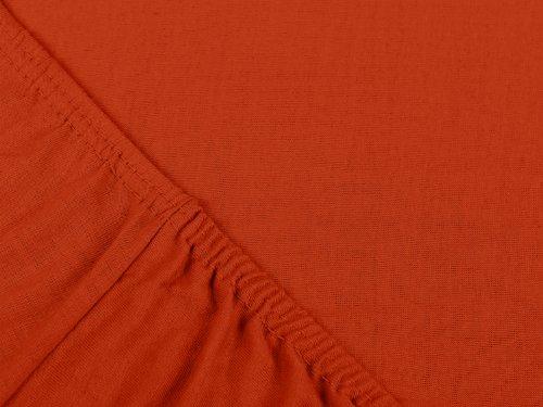 npluseins klassisches Jersey Spannbetttuch - erhältlich in 34 modernen Farben und 6 verschiedenen Größen - 100% Baumwolle, 90-100 x 200 cm, kaminrot - 4