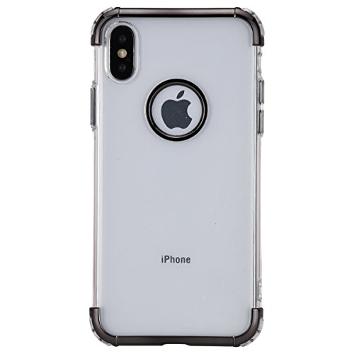 ikasefu iPhone X Case, Crystal Clear Weiche TPU Silikon Ultra-Thin Design Slim Fit Transparent Flexible Premium Schutzhülle für iPhone X schwarz Thin Crystal