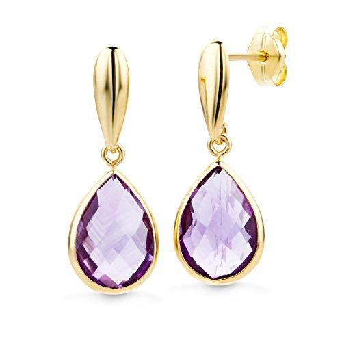 Miore Ohrringe Damen Gelbgold 14 Karat / 585 Gold Hängend  Amethyst