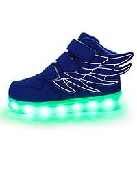 Sharplace Skateboard Schuhe Flügel Turnschuhe Jungen Mädchen Wanderschuhe Schuhe mit LED Lichter blinken Schuhe - Schwarz Grün, 31