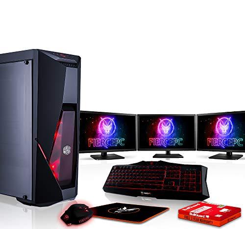 Fierce Python High-End Gaming PC Bundeln - Schnell 4.5GHz Hex-Core Intel Core i5 8600K, 2TB SSHD, 8GB, NVIDIA GeForce RTX 2080 8GB, Tastatur (QWERTY), Maus, 3X 24-Zoll-Monitore 884517