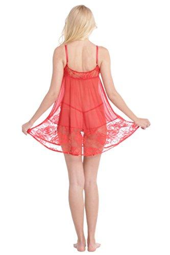 Aibrou Damen Reizwäsche Dessous set tief V Ausschnitt reizvolle Nachtwäsche Negligee mit G-string Unterhose Rot