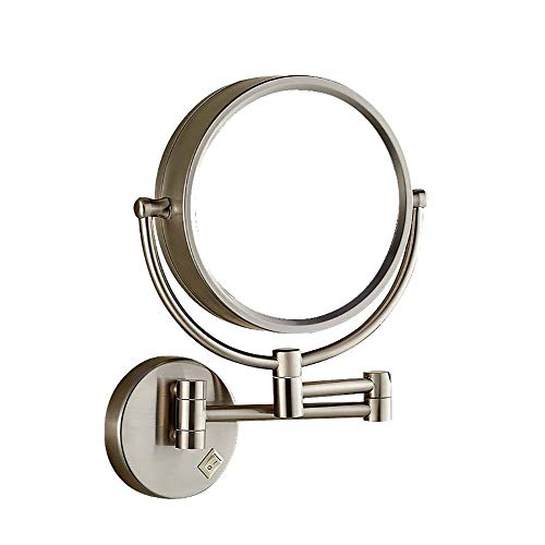 andmontage Mit Beleuchtung Und Vergrößerung, Make-up Vanity Mirror Einziehbare Make-up-Anwendung (Color : Silver, Size : Exposed Plug) ()