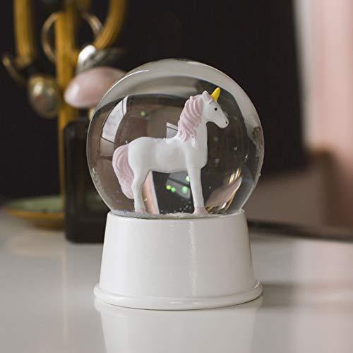 Novelty - Magisch beleuchtete Einhorn Schneekugel LED Schüttelkugel