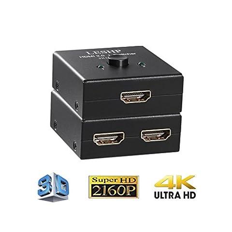 LESHP HDMI Switch Bidirectionnel 2 x Entrées à 1 x Sortie ou HDMI Commutateur 1 x Entrées à 2 x Sortie Supporte 3D et Full HD 1080P pour HDTV , Blu-Ray player , DVD , DVR , Xbox , PS4 , etc