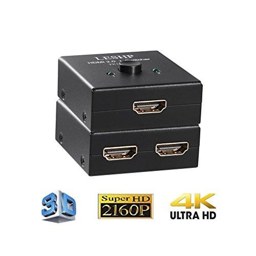 HDMI 2.0a Switcher, LESHP 4K / 2K HDMI Switch Powered Splitter 1X2 Signalverteiler 1 In 2 Out mit Full HD 4K x 2K, 3840 × 2160, 3D Support - Version - Hd Netzkabel Fire