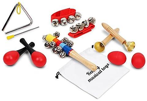Kenley Instruments de Musique pour Enfants - Percussion & Rhythm Maracas Band Kit Bois - Jouet Instrument Musical pour Bébé & Enfant - Lot de 10