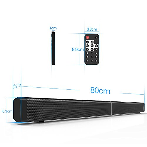 Fozela-Hi-Fi-Sound-Bar-with-Bluetooth-and-Wireless-Subwoofer-40W-Stereo-Speaker-TV-Audio-SoundbarHome-Theater-System-with-Wireless-Remote-Wall-Mountable-Suport-35mm-AUX-in-TF-Card-for-Computer-Desktop