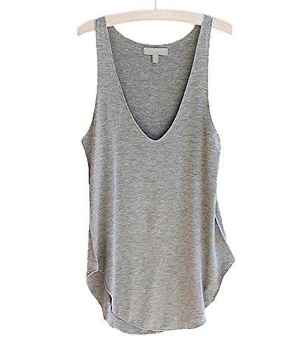 VLUNT Damen Frauen Sommer Shirt Schlinge Weste Ärmellos Bluse Gray