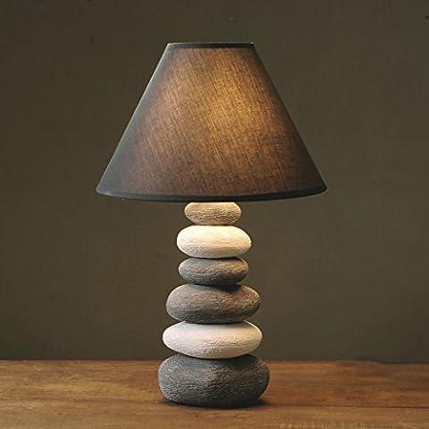 LBC Nordeuropa Imitation Stein Muster Keramik Schreibtisch Lampe American Stely Creative Schlafzimmer Tuch Lampe Abdeckung Nachttischlampe ( Size : B:42.5*27.5CM (Natürliche Aquamarine Kristall)