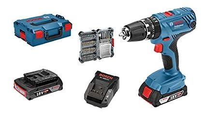 Bosch Professional - Taladro percutor a batería GSB 18V-21 (2 baterías de 2,0 Ah, 18V, con set de 40 accesorios, en maletín L-BOXX)