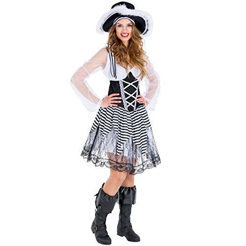 Frauenkostüm Piratenbraut | sexy Kleid + Tüllunterrock + Stiefelstulpen & Hut mit Federn | Piratin Pirat Verkleidung (XXL | Nr. (Abenteuer Maskenball Und Halloween)