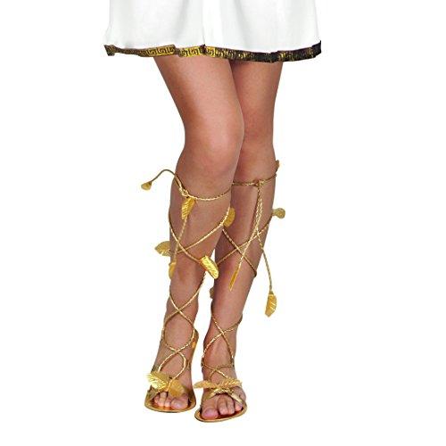 flache Sandalen mit Lorbeerblättern Schuhe Römerin Accessoire Römerinnenkostüm Kostümzubehör Antike Mottoparty Altertum Römersandalen Damen