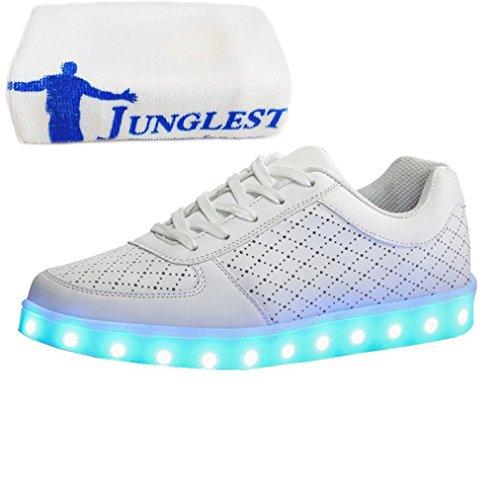 [+Piccolo asciugamano]Luci LED colorati bagliore e ricarica scarpe dargento nuovo scarpe casual USB maschio luminoso e di coppia scarpe femmin c20