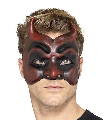 shoperama Kinnlose Latex Teufelsmaske Halbmaske Halloween Horror Devil Satan Luzifer Fürst der Finsternis Hölle diabolisch