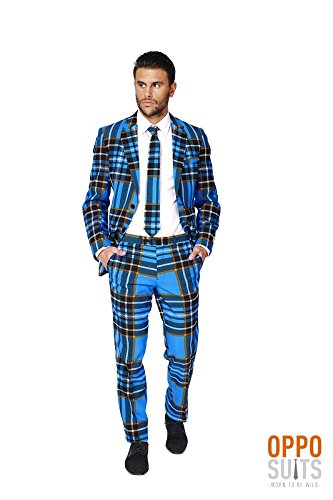 Braveheart Schottland Anzug Karo Muster Opposuit Slimline Premium 3-teilig Gr. (Braveheart Muster Kostüm)