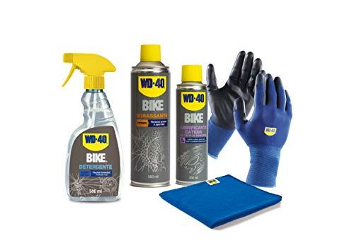 WD-40 Bike - Kit per la Manutenzione della Bici con 1 x Detergente 500 ml, 1 x Sgrassante 500 ml, 1 x Lubrificante Catena Tutte le Condizioni 250 ml, 1 x Guanti di Precisione, 1 x Panno in Microfibra