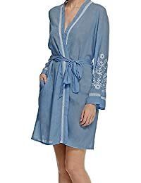 Storelines Ladies Famous Make Embroidered Dressing Gown. Blue White. Size 8  to 22 536be9326