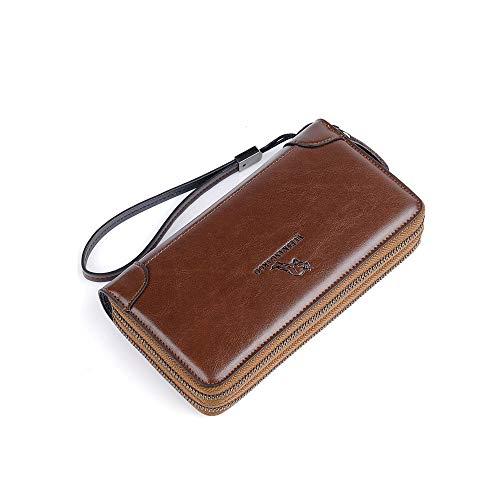 Business Men's Clutch Bag Organiser Handbag Phone Card Holder Wallet Long Wallet Men's Leather Clutch Bag Double Zipper Purse Zip Around Wallet Clutch Purse Men Purse Business Purse