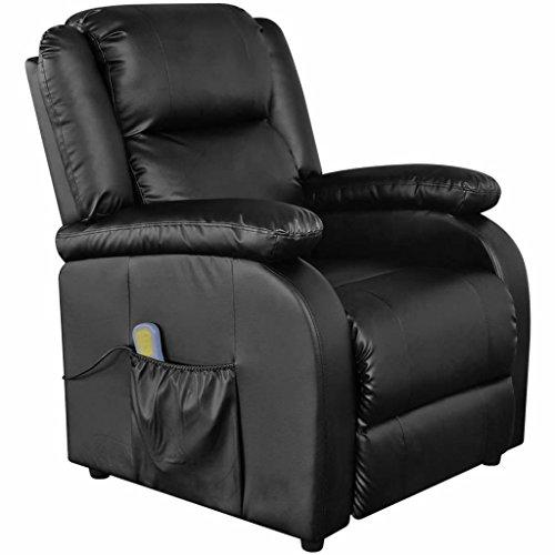 lingjiushopping Elektrische Massage Sessel Lehnstuhl Kunstleder schwarz Farbe: schwarz Material: Struktur aus Holz und Eisen + Bezug Leder Künstliche