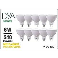 Juego de 10Bombillas LED Spotlight MR16Dya Ø50x 53, 6W 540lm, luz natural 4000K °