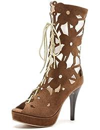 JITIAN Frauen Sexy High Heel Sandals Fashion Stiletto Party Dress Pumps Open Toe Ankle Lace Splice Design