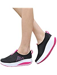 MOSE Women's Pure Mesh Casual Shoes Platform Shoes Loafers BGreathable Air Mesh Swing Wedges Shoe