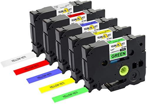 Yellow Yeti 5 Cassette Nastri Laminati TZe-231 TZe-431 TZe-531 TZe-631 TZe-731 12mm x 8m Etichette compatibili per Etichettatrici Brother P-Touch PT-1000 1005 H100R H100LB H107B H110 D210 D400 D600VP