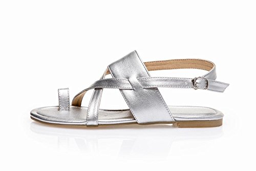 MissSaSa Damen bequem und simpel flach Zehentrenner slingback open-toe Schnalle Sandalen Silber