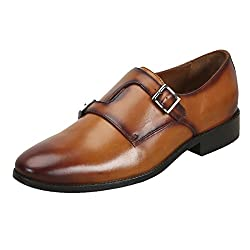Tan Cross Monk Strap Formal Leather Shoes by BRUNE