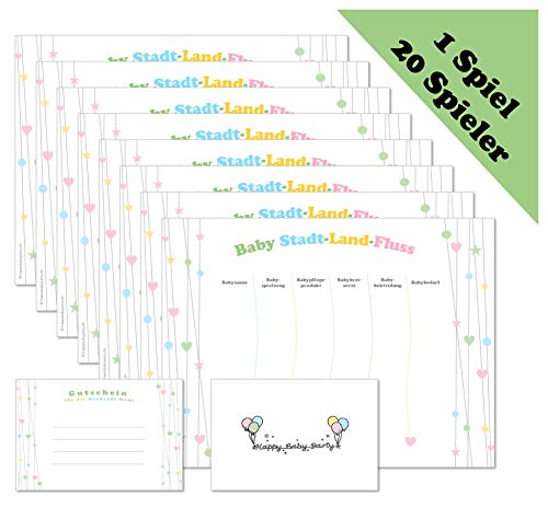 Babyparty Spiel - Baby Stadt-Land-Fluss - Spiele-Set für 20 Spieler in Deutsch (ideal als Idee und Spiel für die Babyparty / Baby Welcome Party / Baby Shower Party) neutral für Jungen und Mädchen