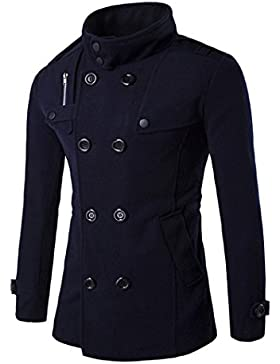Abrigo de los hombres, FNKDOR blusa superior del invierno del botón de la hilera del botón de la fila de otoño...