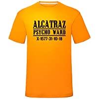 "laylawson Mens Alcatraz Psycho Prisoner T Shirt Orange Large (Chest 42"")"