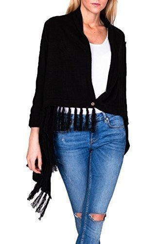 Turn-up Sweatshirt (moremor Damen Cardigan Strickjacke Poncho mit 1-Knopf-Verschluss, Turn-up-Ärmeln und Fransen, schwarz)