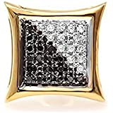 0,08quilates (de quilate) 14ct amarillo oro blanco y negro diamante Micro Pave Kite forma Stud Pendientes (1pc)