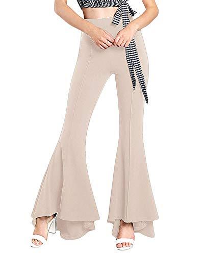 Quge Donna Elasticizzati Pantaloni A Zampa Eleganti Elastico in Vita Larghi Flare Albicocca S