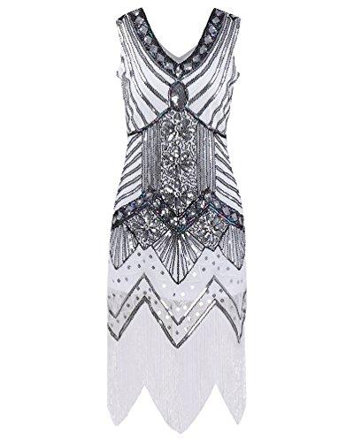 ZKOO Damen 1920er Diamant Pailletten Verschönert Mit Fransen Flapper Kleid Weiß (Flapper Kleider Schickes Kleid)