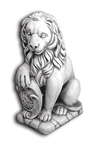 Defi Deko- und Figurenhandel Löwe sitzend Links schauend/weiß mit Schattierungen (H965), Tierfigur aus Steinguss, Höhe: 37 cm, Gewicht: 55 kg Defi Link