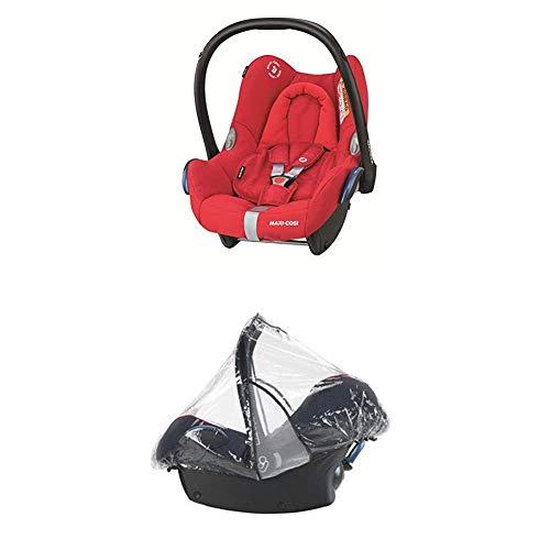 Maxi-Cosi Cabriofix, Babyschale Gruppe 0+ (0-13 kg), Nomad Red, ohne Isofix-Station + Regenschutz für Autositze Pebble, Cabriofix und Citi SPS