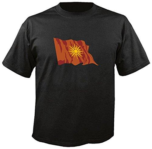 T-Shirt für Fußball LS101 Ländershirt XL Mehrfarbig Macedonia - Mazedonien mit Fahne/Flagge - Fanshirt - Fasching - Geschenk - Fasching - Sportshirt freie Farbwahl