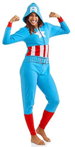 Captain america Damen Schlafanzug Marvel Cozy Union Suit Pyjama Nachtwäsche - Blau - XX-Large (18W-20W) (Für Superhelden-kostüme Teenager-mädchen)