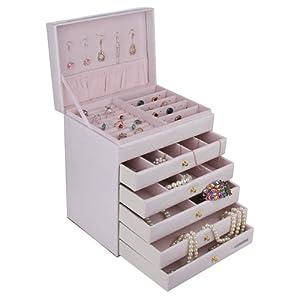 (6) (- Box/Koffer/Schmuckständer, 5 herausnehmbare Ablagen-Stück, weiß