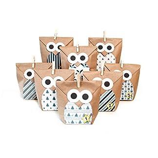 Pajoma Christmas Owl Blue Calendario de Adviento, Papel de estraza, marrón, B 14X H 22cm