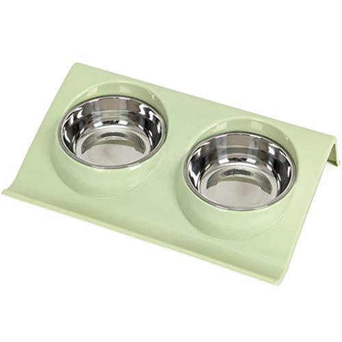 Pet Bowl Edelstahl Pet Dish Rack Katze Schüssel Hundenapf, Hundenapf Doppel Schüssel Katzenfutter Schüssel Trinkwasser Schüssel Reis Schüssel Katze Liefert Große (37,5 cm * 24 cm * 7,5 cm) -