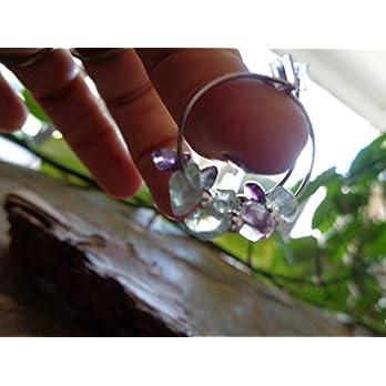 CREOLEN MIT KLEINEN FLUORIT STEINEN Ohrringe aus Stein Splittern in transparent grün lila, kleine Ohrringe, Ringe